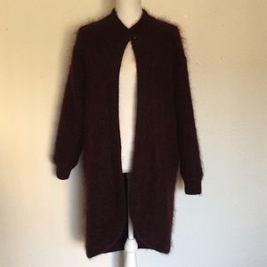 Vintage Bordeaux Mohair Coat Jacket With Pockets